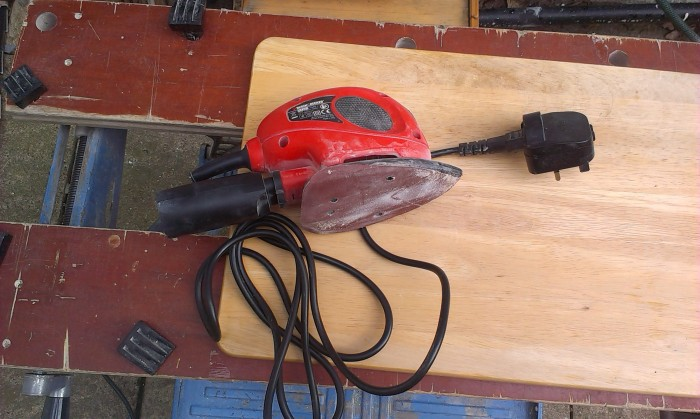 The electric sander I used to remove the scratches and marks.