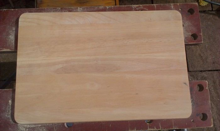 The board after it had been sanded.