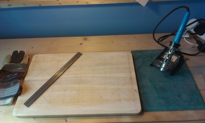The soldering Iron, Metal Ruler, Glove and board ready to go.