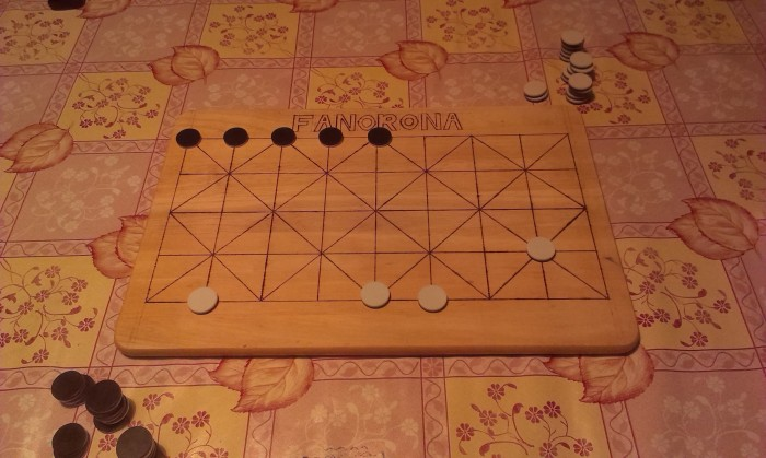 The remaining pieces on the board after only a few minutes of play.