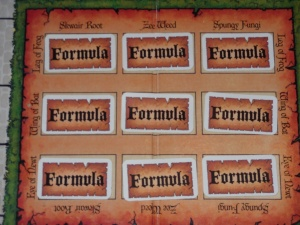 The layout of the potion cards on the brewing grid.