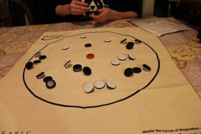 The middle of gameplay. Both players have placed several successful Leaners and no Towers have yet been created.