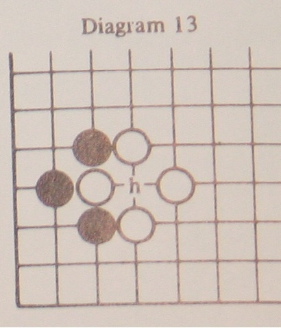 Now black can play inside whites Eye because the move would result in capturing the left hand white piece, thus creating a new Liberty for the played piece