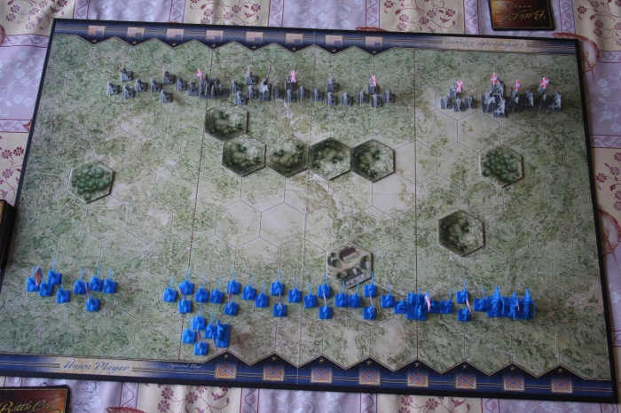 The starting set up for the simplest scenario, called First Bull Run. Blue is Union, Grey is Confederate.