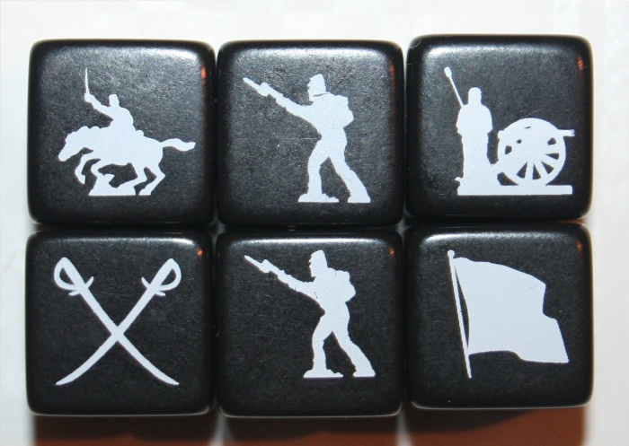 The Battle Dice. As you can see, there are two Infantry symbols showing. This is because there are two sides of each die with the Infantry symbol on them. Making them the easiest units to capture.