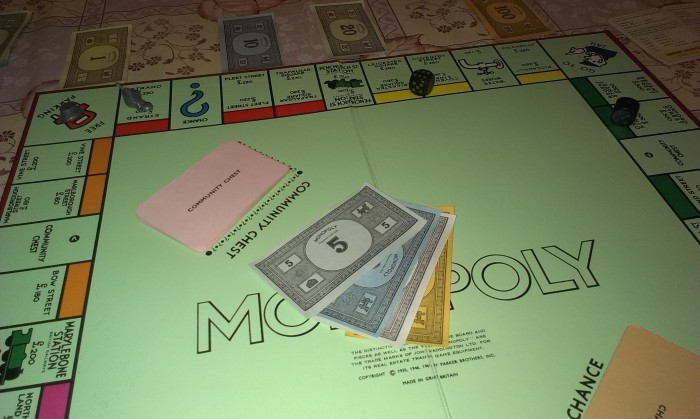 I landed on Free Parking, so I got to reclaim my money from the middle of the board.